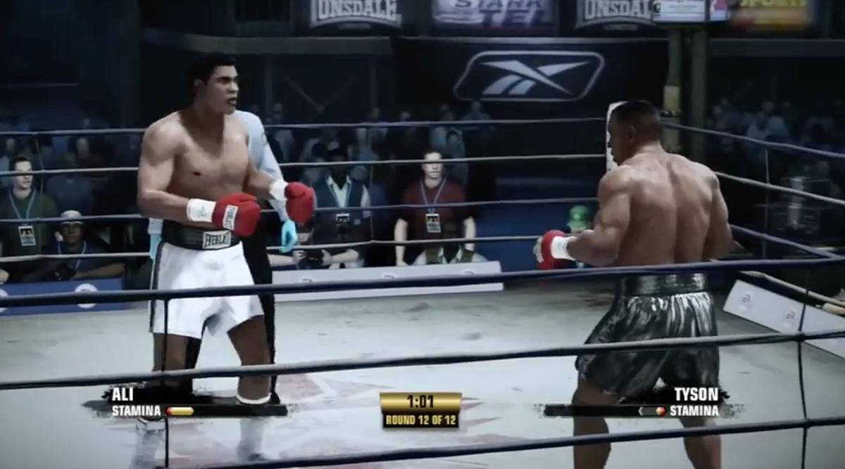 Trận đấu giả lập giữa Ali (quần trắng) và Tyson.