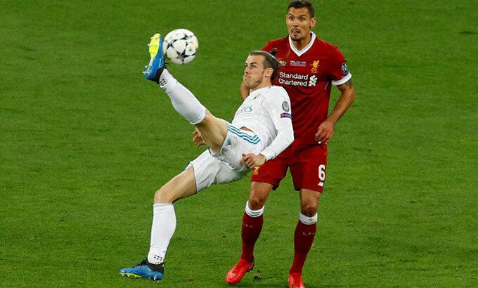 Bale vô lê ghi bàn trong trận chung kếtChampions League 2018. Ảnh: Reuters.