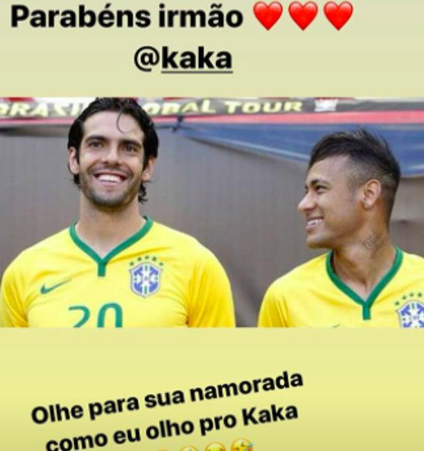 Neymar gửi lời chúc tới Kaka.