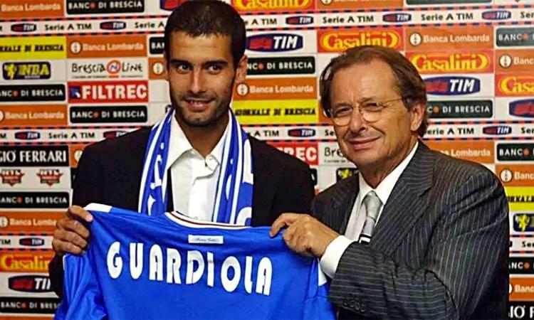 Guardiola ra mắt tại Brescia. Ảnh: Corriere dello Sport.