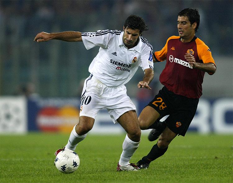 Guardiola trong trận Roma thua Real 0-3 ở Champions League năm 2002. Ảnh: AFP.
