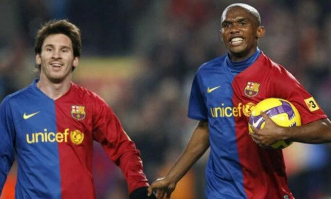 Messi và Etoo từng tạo nên hai bộ ba tiền đạo nguy hiểm nhất thế giới. Ảnh: Marca.