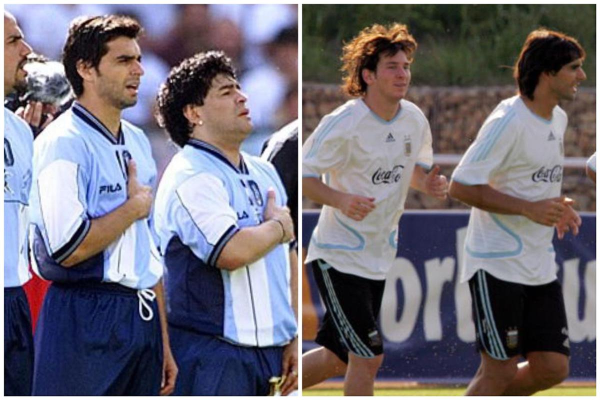 Ayala từng kề vai sát cánh với cả Maradona lẫn Messi ở tuyển Argentina. Ảnh: AFP.
