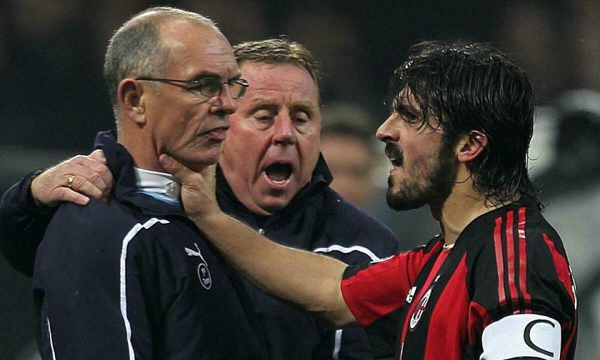 Gattuso từng bóp cổ trợ lý HLV Tottenham - Joe Jordan. Ảnh: Sun Sport.