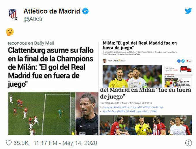 Atleticophản ứng trên Twitter.