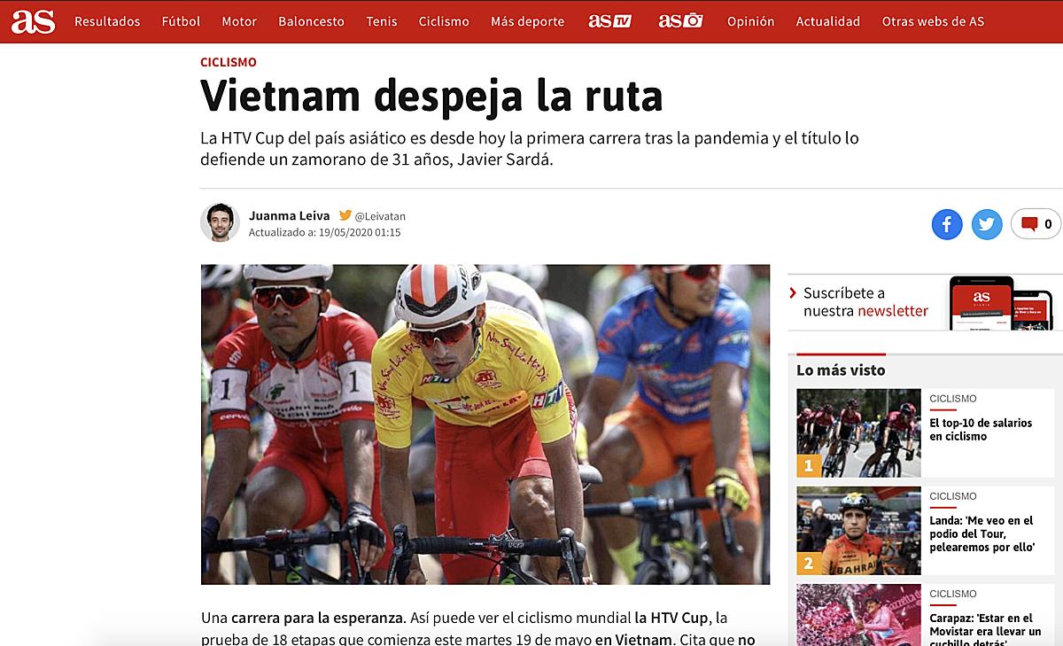 Tờ AS danh tiếng của Tây Ban Nha với bài viết về Cup Truyền hình HTV của Việt Nam.