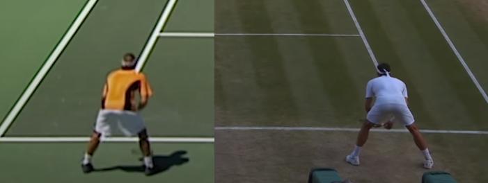 Tư thế chuẩn bị trả giao của Federer năm 2002 (trái) và 2018 (phải). Ở ảnh bên phải, Federer dạng chân rộng và cúi khom người hơn.