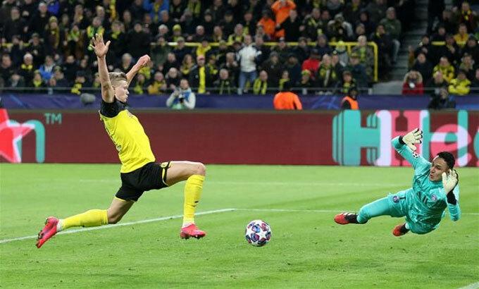 Haaland ghi 10 bàn ngay mùa đầu chơi ở Champions League. Ảnh: Reuters.