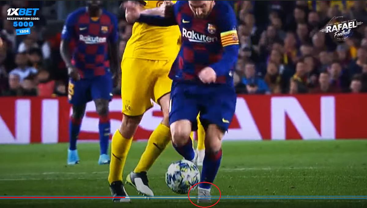 Messi thường chạy và tiếp đất bằng mũi chân, như những chân chạy 100m chuyên nghiệp.
