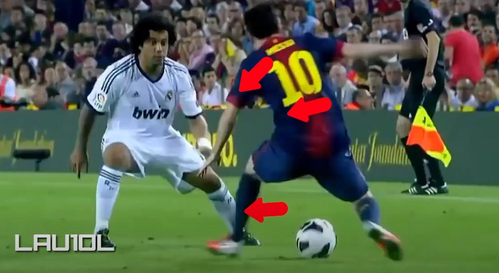 Trong tình huống đối đầu Marcelo, Messi dồn trọng tâm sang trái. Vai và thân Messi cũng dồn sang trái. Lúc này mắt của Marcelo nhìn về người Messi, và bị đánh lừa.