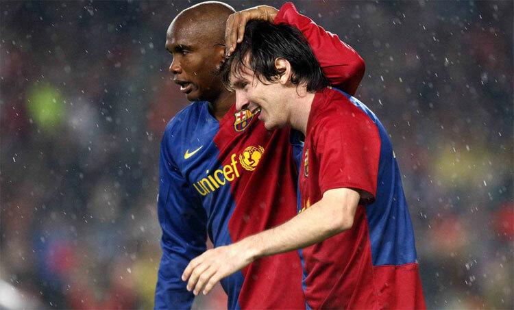 Messi, Etoo và Xavi đưa Barca giành cú ăn ba mùa 2008-2009. Ảnh: EFE.