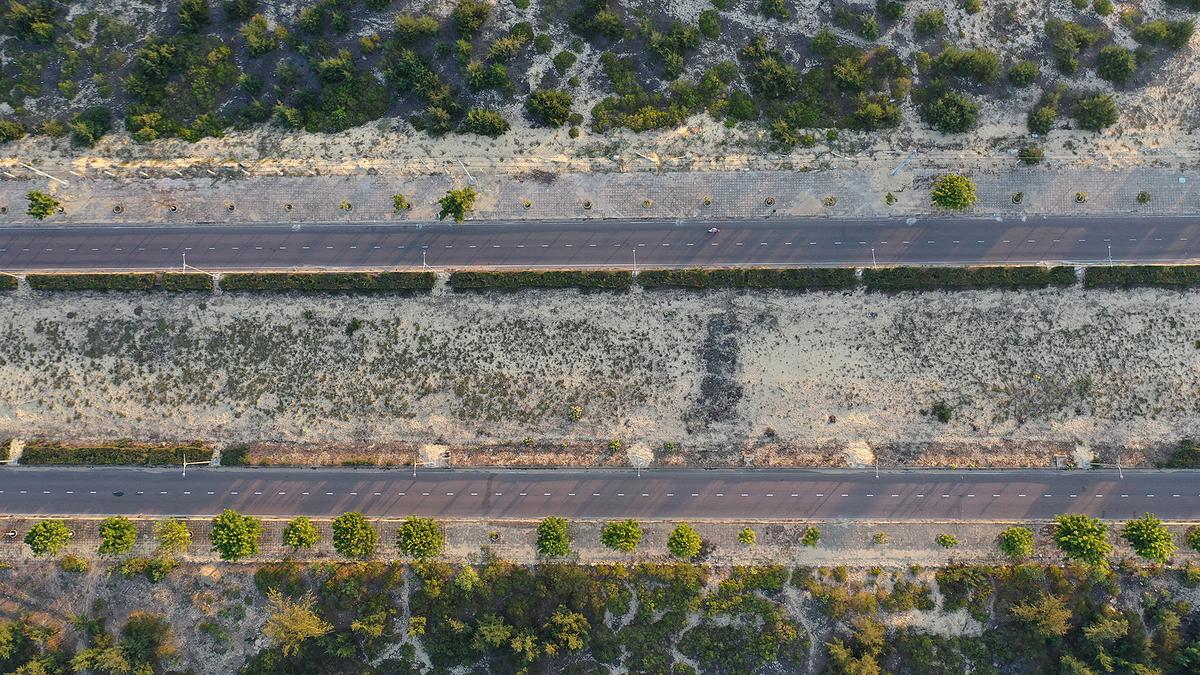 Đường chạy VnExpress Marathon Quy Nhơn 2020 xuyên qua đồi cát Phương Mai. Ảnh: Ngọc Thành