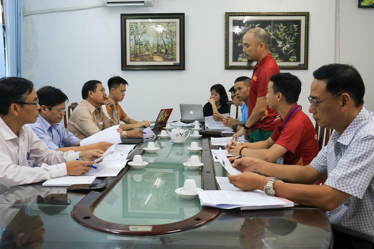 Ban tổ chức làm việc với đại diện Sở y tế Bình Định chiều 26/6.