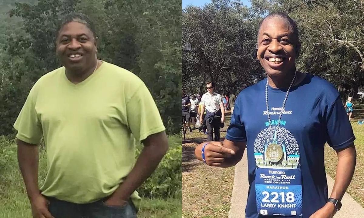 Hình thể khác biệt của thầy hiệu trưởng sau ba năm chạy bộ. Ảnh: Larry Knight.