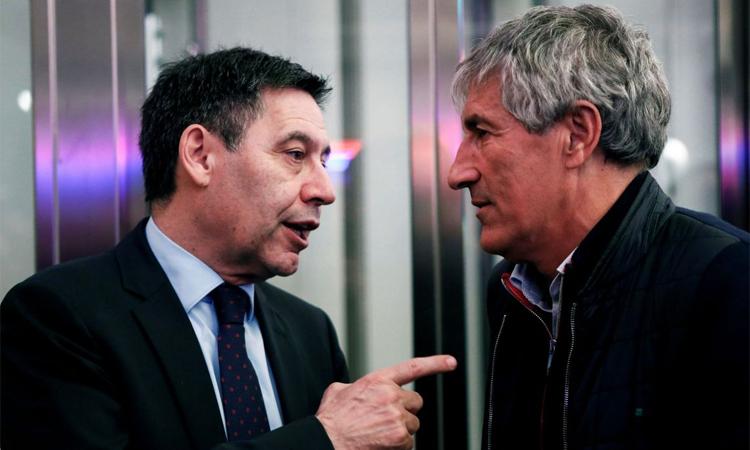 Bartomeu và ban lãnh đạo Barca vẫn ủng hộ Setien ít nhất đến hết mùa này. Ảnh: EFE.
