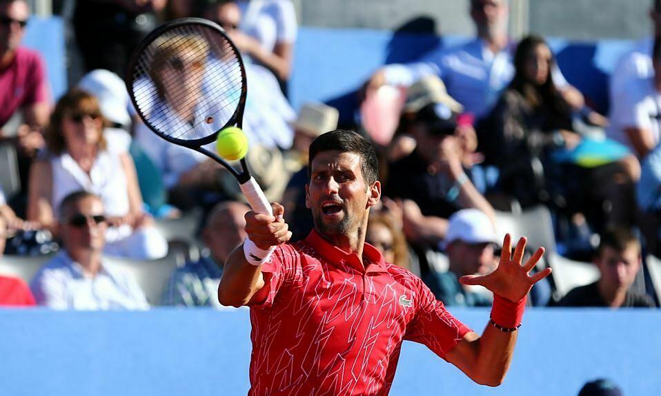 Djokovic thi đấu tại Adria Tour hôm 19/6. Ảnh: Reuters.