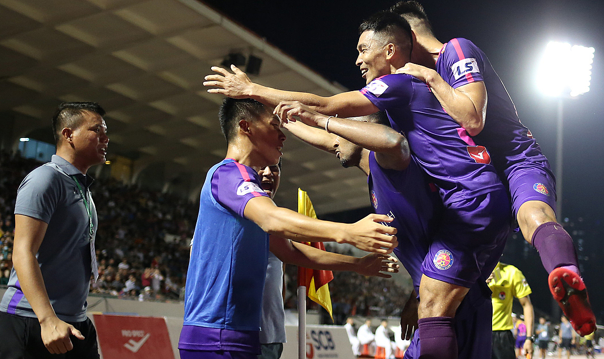 Sài Gòn FC lên đỉnh bảo sau thắng lợi trước chủ nhà Hải Phòng. ẢNh: Nam ANh.