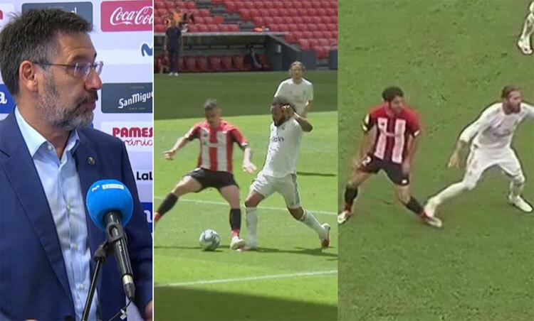Hai tình huống giống nhau trong trận Bilbao - Real, nhưng chỉ một đem lại phạt đền. Ảnh: Marca.