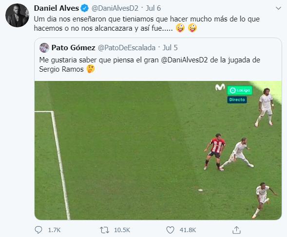 Dòng tweet của Dani Alves nhận được gần 42.000 lượt thích.