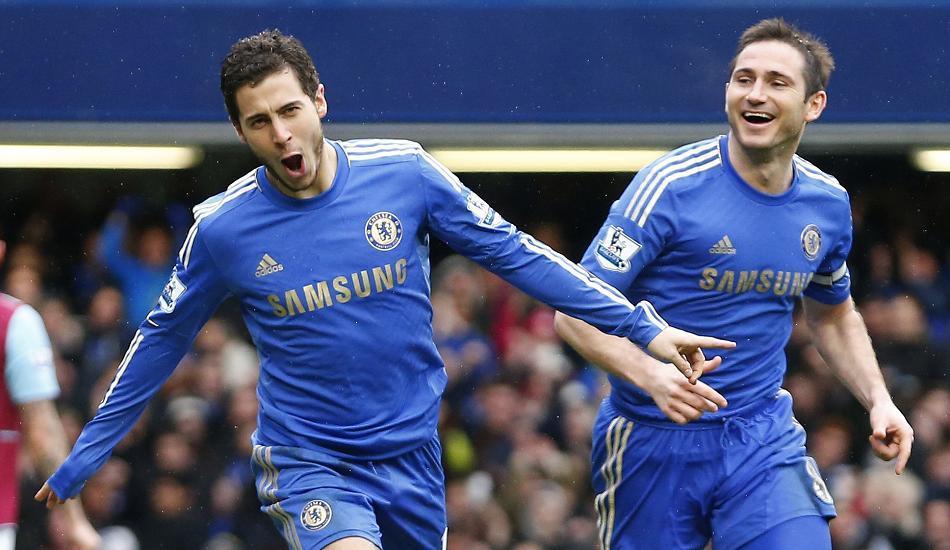Lampard (phải) và Hazard, thời còn là đồng đội. Ảnh: Sun.