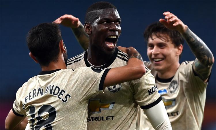 Pogba đã có bàn thắng đầu tiên cho Man Utd ở mùa này. Ảnh: EPA.