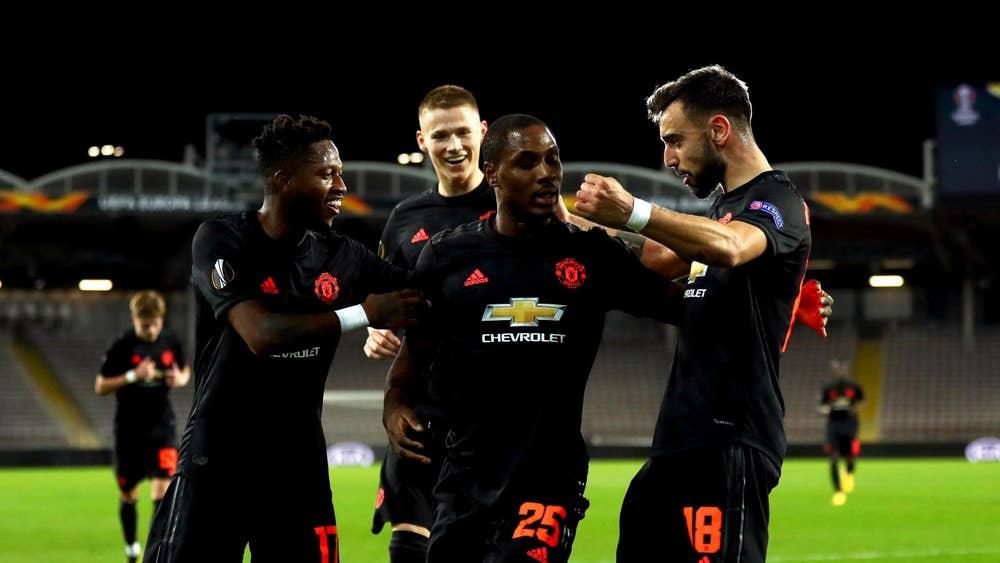 Các cầu thủ Man Utd mừng bàn thắng trên sân của LASK ở lượt đi.