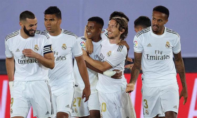 Real chỉ còn cách chức vô địch đúng hai trận. Ảnh: Marca.