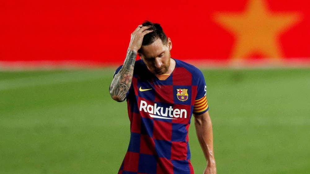 Messi buồn bã sau khi nhận thất bại, đồng thời mất ngôi vương La Liga.
