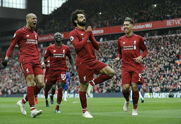 Liverpool sáng cửa vô địch khi hơn nhì bảng Man City 25 điểm. Ảnh: AP.