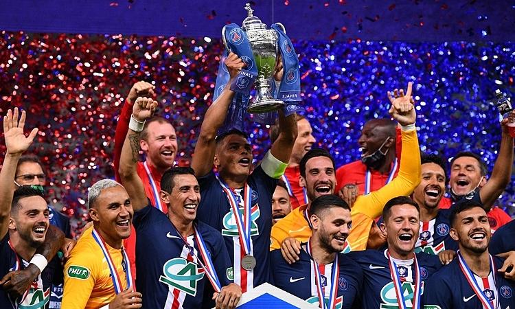 PSG hoàn tất cú đúp danh hiệu trong nước - Cup Quốc gia và Cup Liên đoàn, khi Ligue 1 đã bị hủy. Ảnh: RTE.