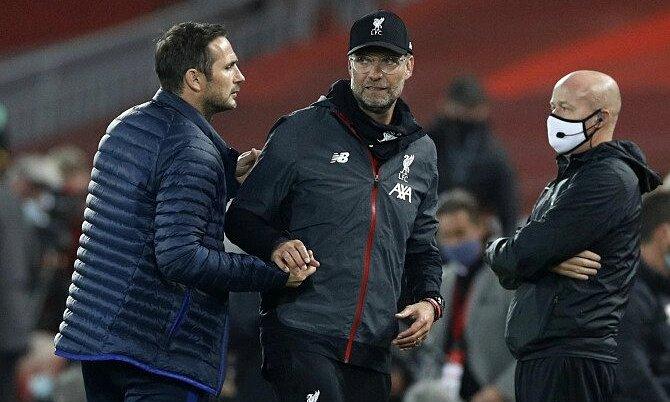 Lampard mâu thuẫn với Klopp. Ảnh: PA.