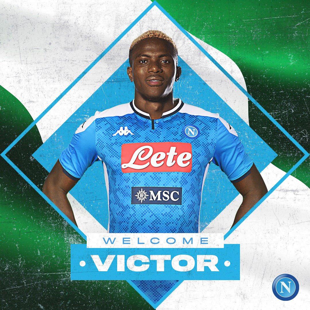 Napoli làm poster chào mừng Victor Osimhen gia nhập đội.
