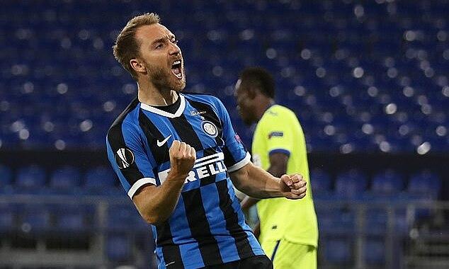 Eriksen ghi bàn thứ hai sau ba trận ở Europa League cho Inter. Ảnh: Reuters.