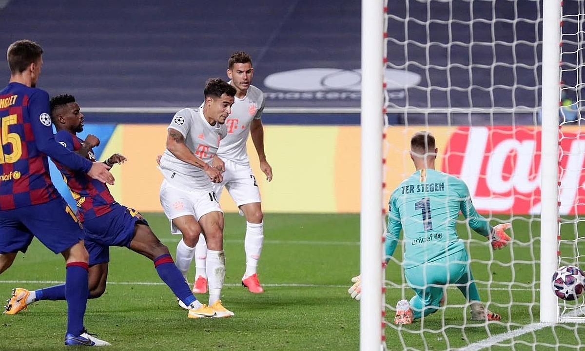 Coutinho ấn định tỷ số 8-2. Ảnh: Reuters.