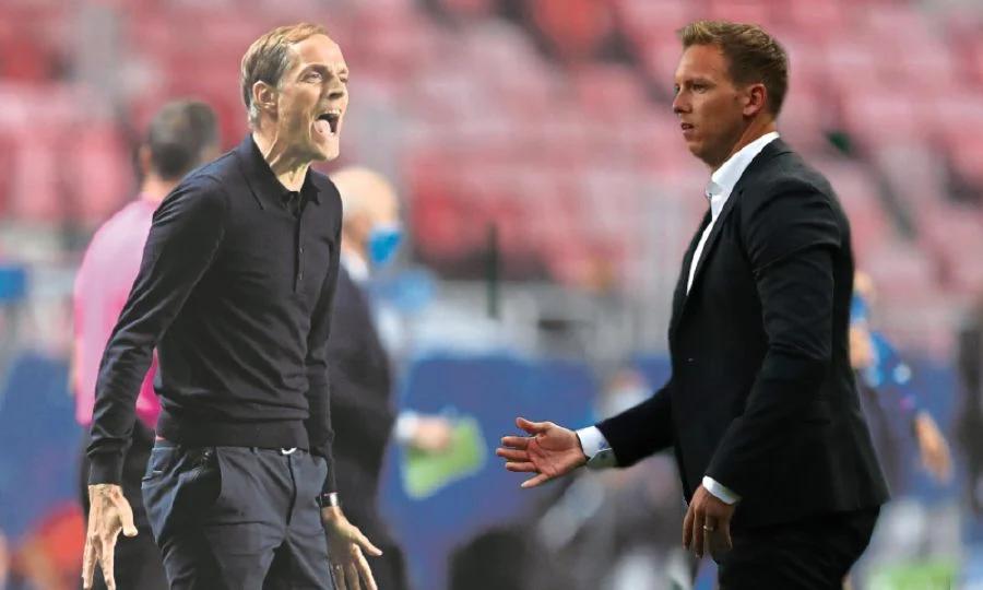 Tuchel (trái) và Nagelsmann sẽ có lần thứ tư đấu trí, khi PSG gặp Leipzig trên sân Da Luz, Lisbon, Bồ Đào Nha hôm nay 18/8. Ảnh: AFP