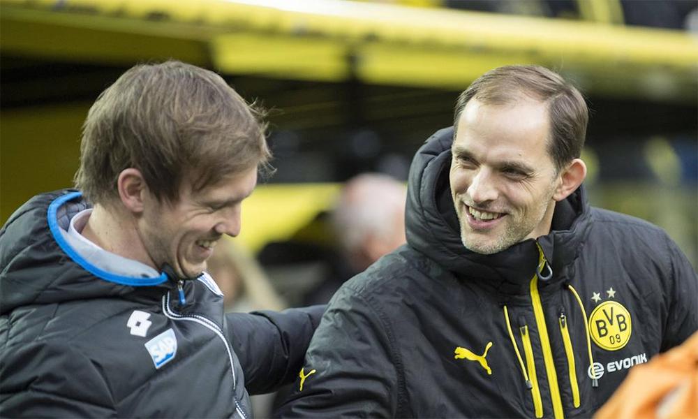 Nagelsmann vui vẻ khi tái ngộ Tuchel thời cả hai còn làm việc ở Bundesliga, trong màu áo Hoffenheim và Dortmund. Ảnh: imago