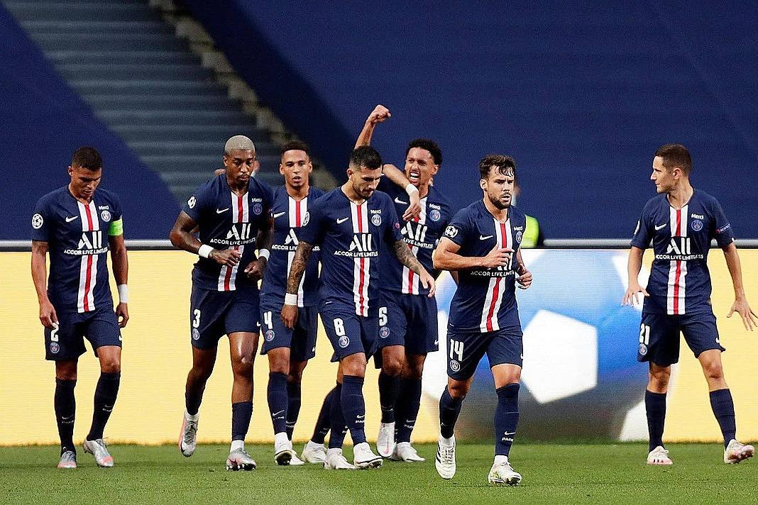 Cầu thủ PSG mừng bàn mở tỷ số. Ảnh:Reuters.