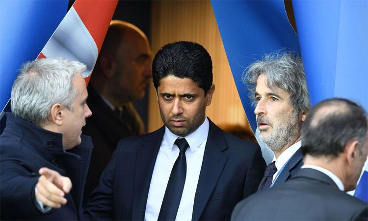 Trong chín năm, Al-Khelaifi (giữa) đã rót cả tỷ USD để biến PSG thành một đội hàng đầu châu Âu. Ảnh: AP.