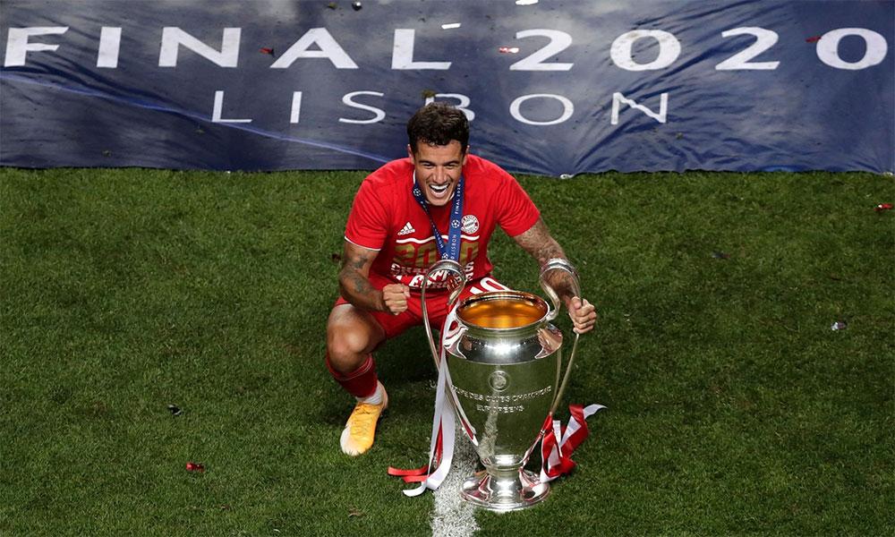 Coutinho mừng chức vô địch Champions League 2019-2020. Ảnh: AFP.