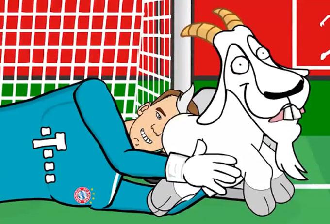 Neuer tóm sống chú dê trong video mừng chiến thắng.