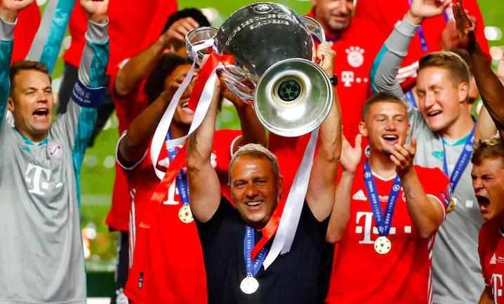 Flick giành cú ăn ba ngay mùa đầu tiên dẫn dắt Bayern. Ảnh: AP.