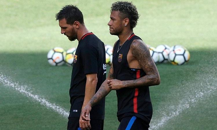 Messi từng bày tỏ mong muốn sát cánh cùng Neymar một lần nữa. Ảnh: Reuters.