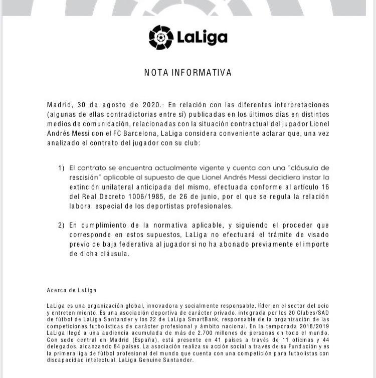 Thông cáo của La Liga hôm 30/8 về tình trạng hợp đồng của Messi.