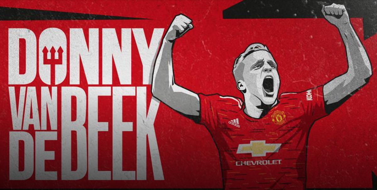 Poster của Man Utd chào mừng Van de Beek nhập đội. Tiền vệ người Hà Lan có phí chuyển nhượng 48 triệu USD, ký hợp đồng năm năm với Man Utd và sẽ hội quân từ tuần tới, sau đợt tập trung ĐQTG.
