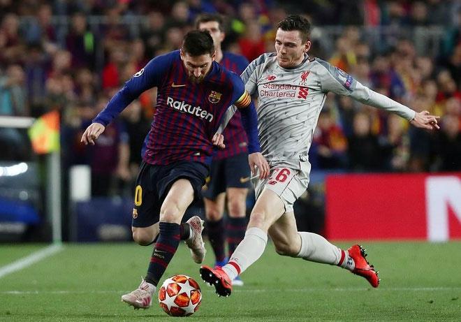 Messi đối đầu Robertson ở bán kết Champions League 2018-2019. Ảnh: Reuters.