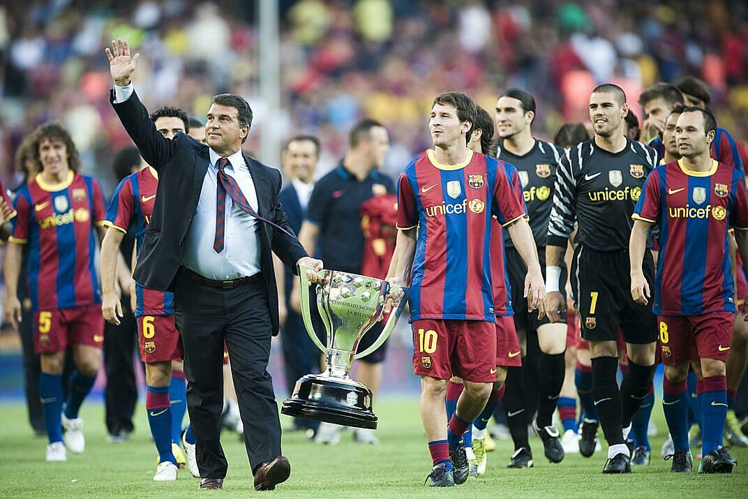 Giai đoạn đầu sự nghiệp của Messi gắn với nhiệm kỳ chủ tịch của Laporta. Ảnh: AP.