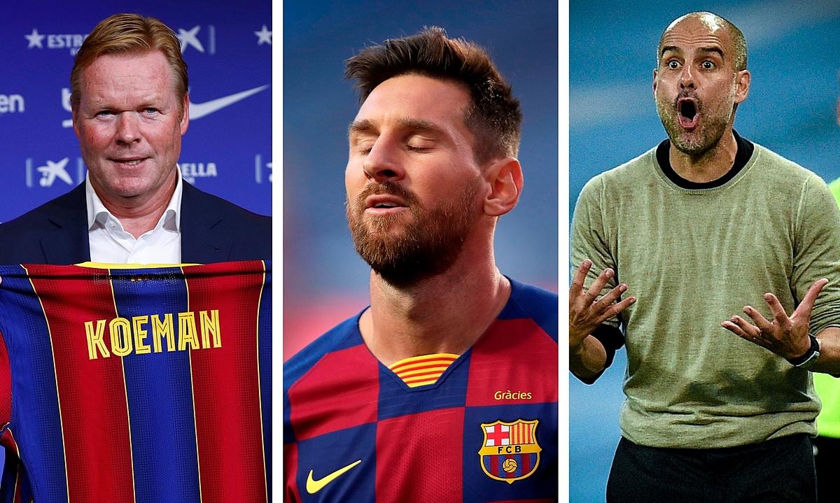 Messi muốn tái ngộ thầy cõ Pep Guardiooa (phải), và không tin tưởng vào kế hoạch của Ronald Koeman ở Barca. Ảnh: Marca