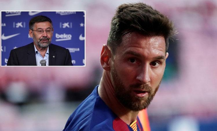 Messi công khai sự bất đồng với Chủ tịch Barca. Ảnh: Reuters.