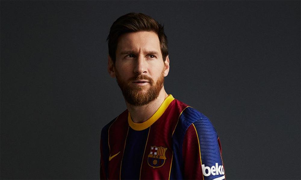 Hình ảnh Messi trong áo đấu mùa 2020-2021 được Barca đăng tràn ngập trên các kênh truyền thông sau khi tiền đạo 33 tuổi tuyên bố ở lại. Ảnh: FCB.cat