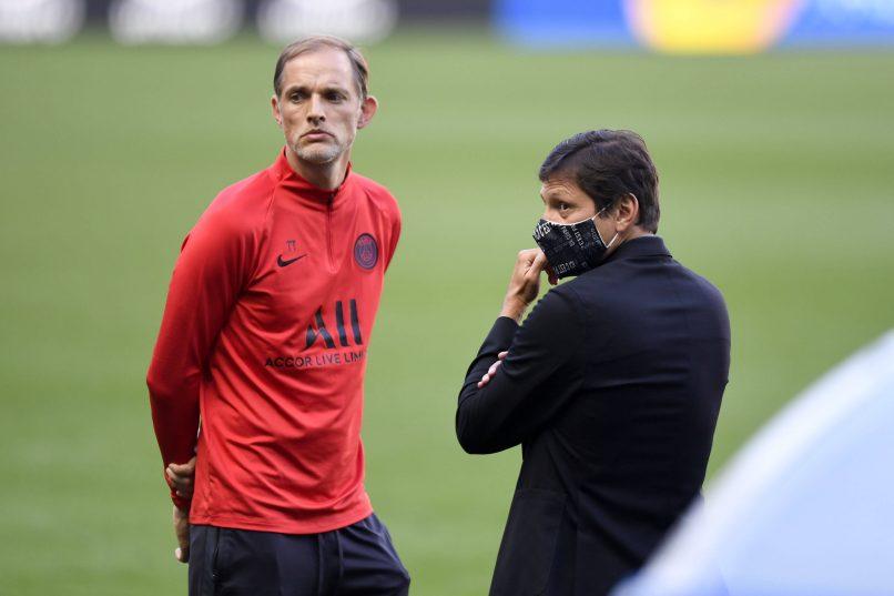 Trước khi Leonardo (phải) công khai khó khăn về tài chính khi mua Messi, HLV Tuchel cũng cho rằng khả năng PSG sở hữu siêu sao người Argentina rất khó xảy ra. Ảnh: PSG.